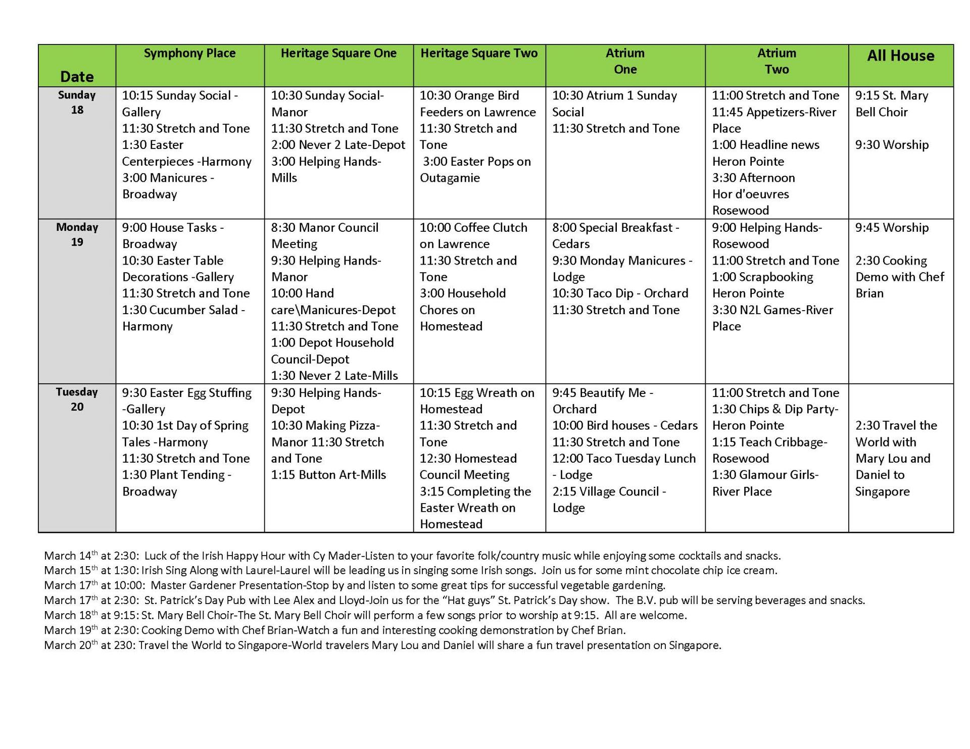 Life Enrichment March 14-20 | Event List View (For Meeting