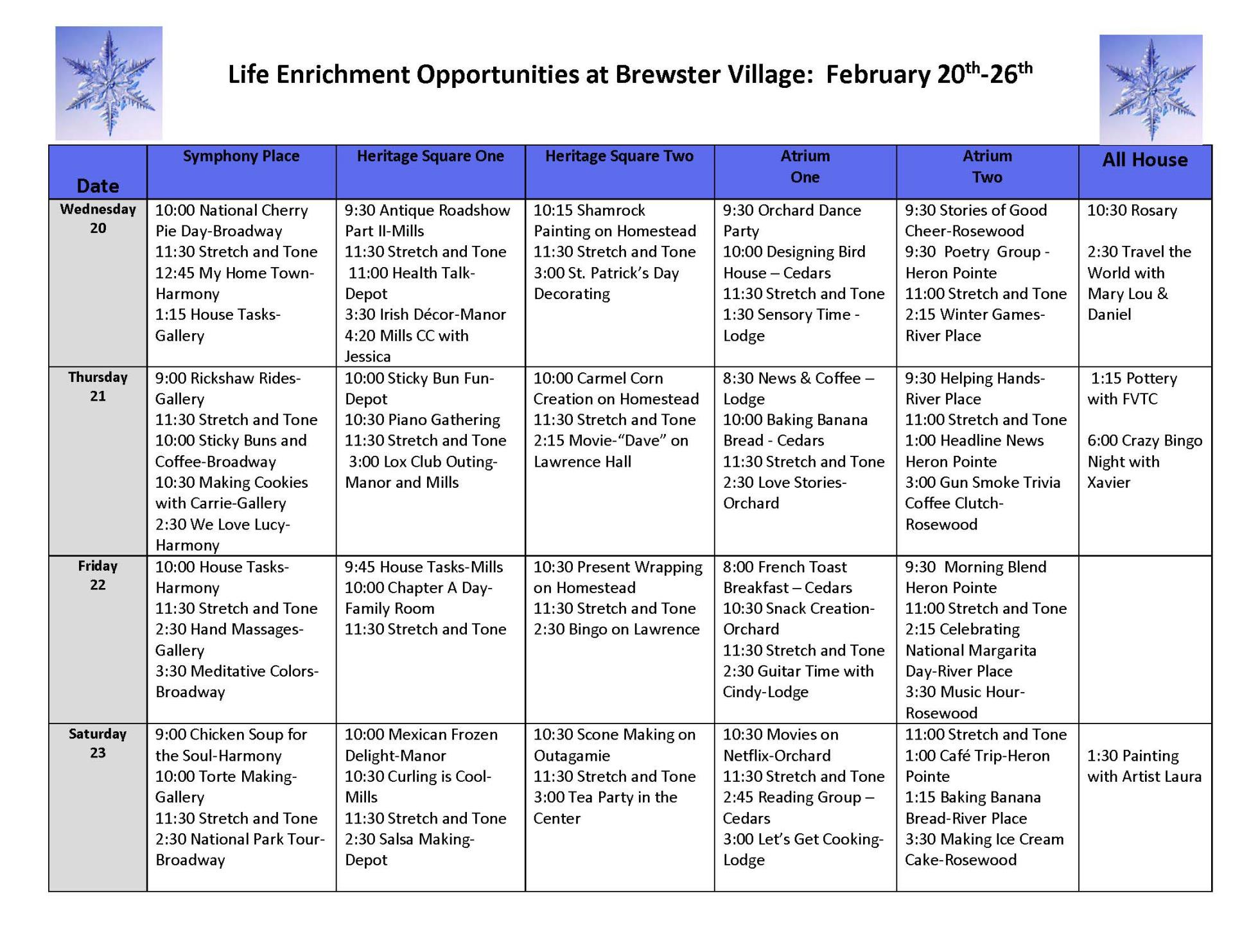 Life Enrichment February 20-26   Calendar of Events